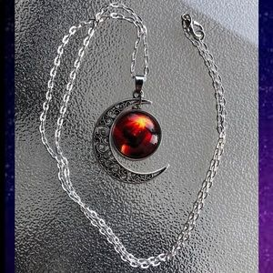 Red fire nebula silver Crescent moon necklace